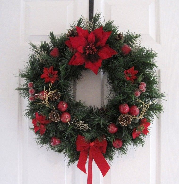 floral silk door white wreath together decorating doors ideas best wreaths flower dried christmas arrangements with