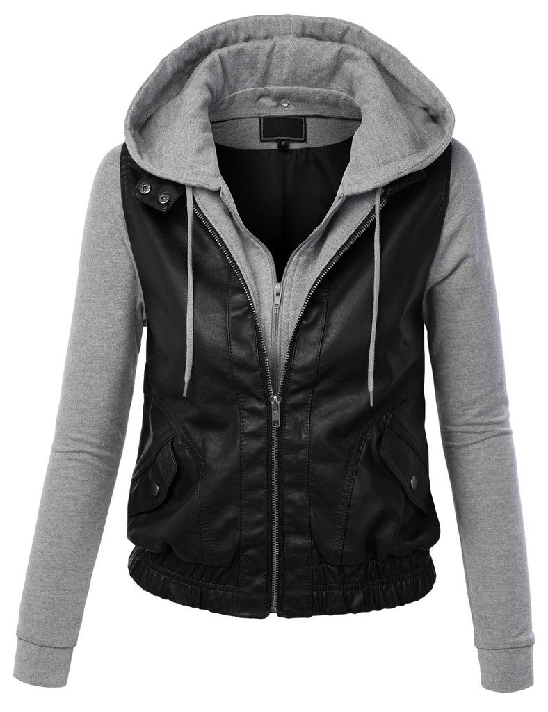Womens Faux Leather Zip Up Moto Biker Jacket With Hoodie | Leather ...