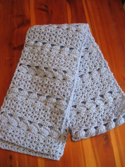 Cozy Blue Crochet Scarf