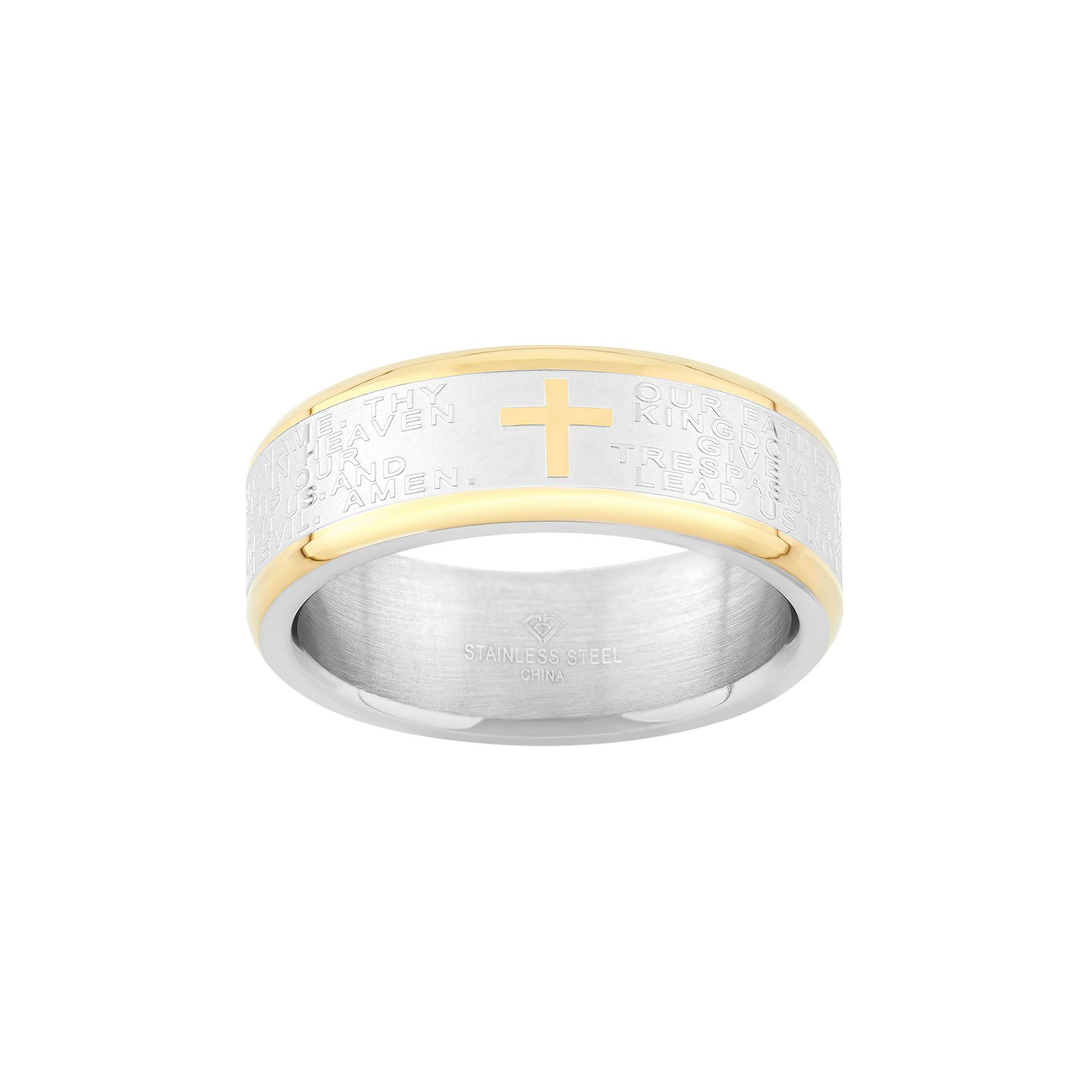 """Two Tone Stainless Steel """"The Lord's Prayer"""" Cross Wedding"""