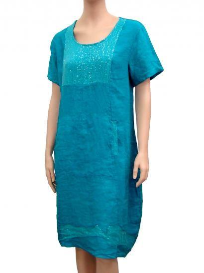 Leinenkleid mit Pailletten, türkis | Kleider, Oberhemden
