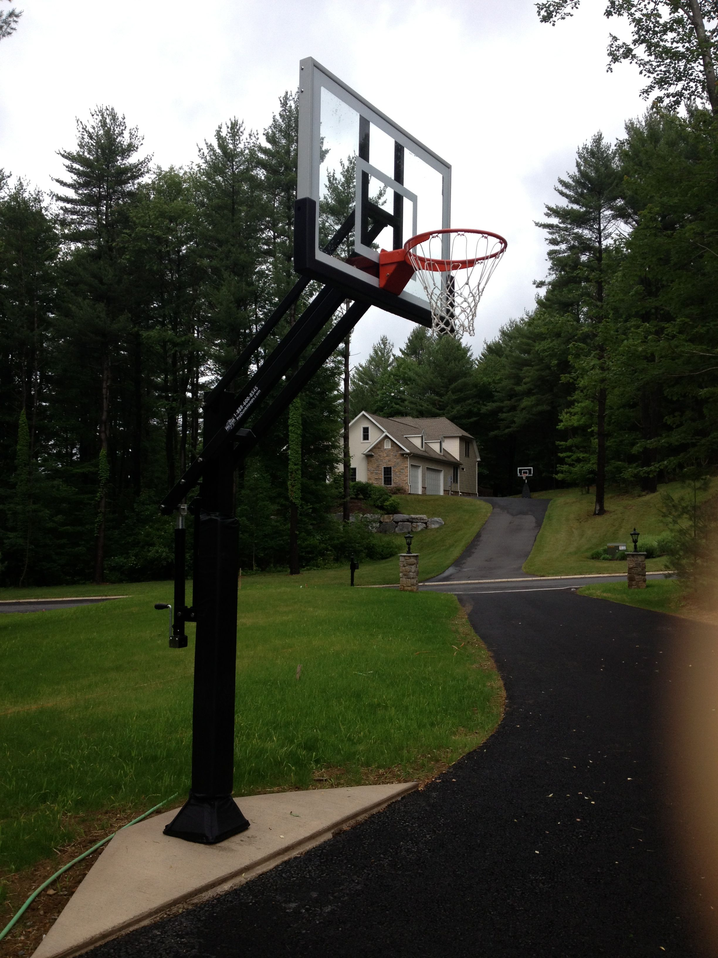 Step Out From The 2 Car Garage And This Pro Dunk Silver Basketball System Is Ready