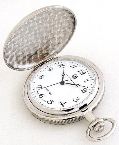 Charles-Hubert, Paris Mechanical Pocket Watch Polished Chrome Plated Exclusive Arabic Numeral Dial! - Listing price: $144.95 Now: $83.98