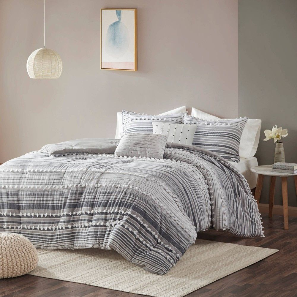 Photo of Corey King/California King 5pc Cotton Comforter Set Gray
