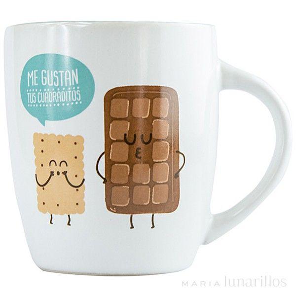 """Taza """"Me gustan tus cuadritos"""", de Mr Wonderful - Tazas para mug cakes - Moldes de repostería - Utensilios - Repostería"""