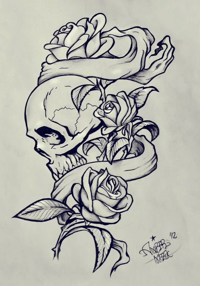 Drawings Of Skulls And Roses