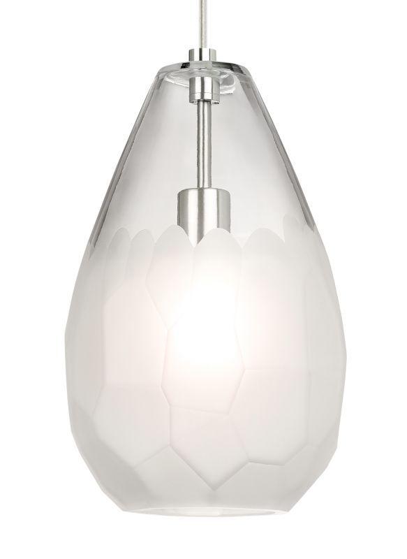 Lbl lighting lp8892d briolette grande single light 9 wide pendant satin nickel frost indoor