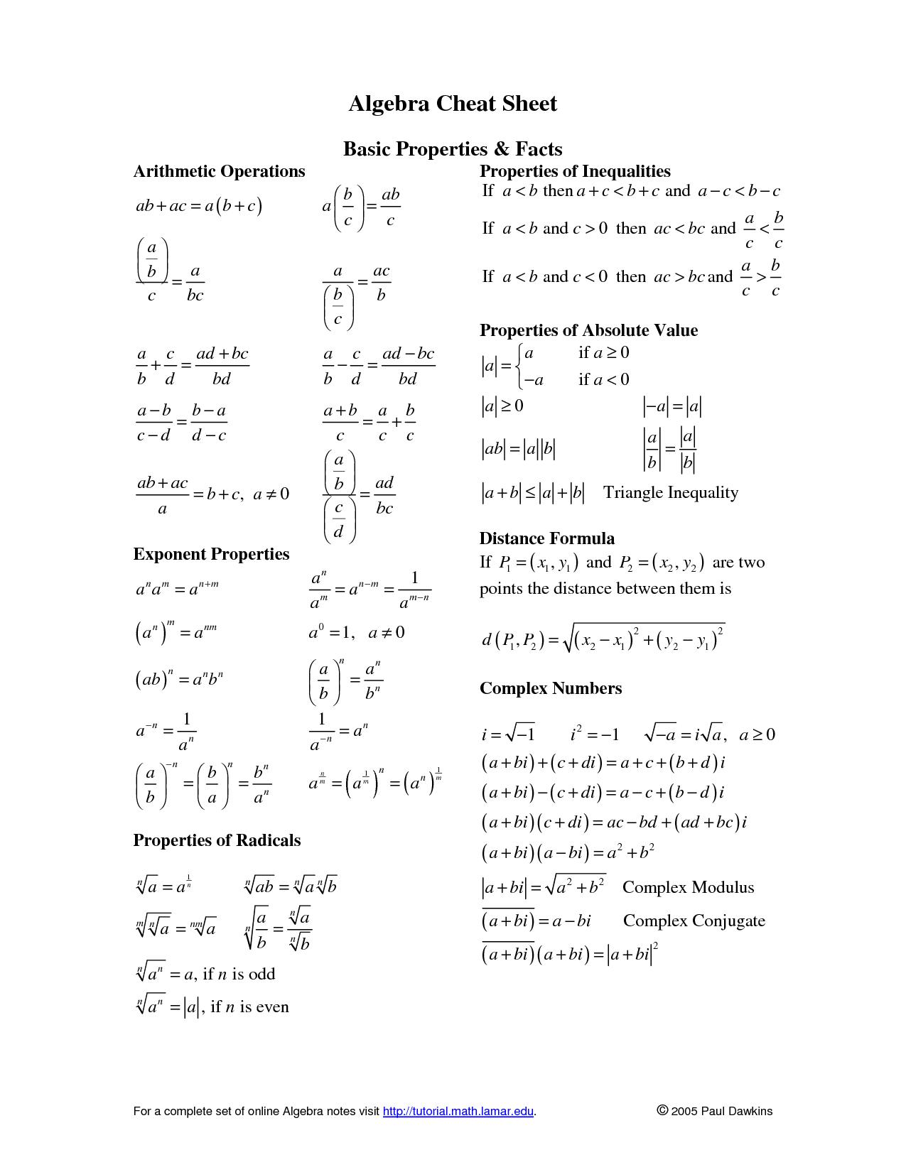 Algebra Formula Cheat Sheet Algebra Formula Cheat Sheet