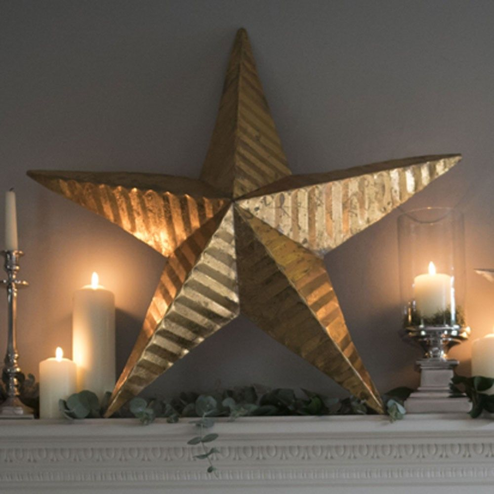 New large gold star wall art culinary concepts christmas our stunning primitively styled star wall art takes its influence from the traditional american amish barn stars believed to be a symbol of good luck and biocorpaavc Images