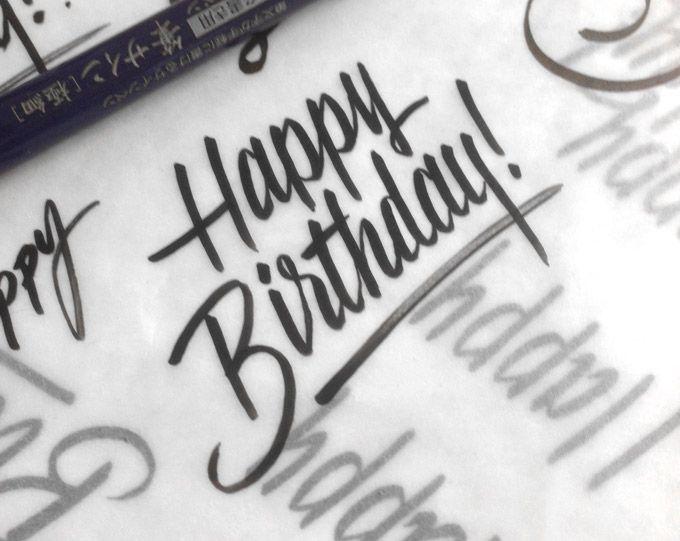 Handwritten Happybirthday Brushpen Handlettering Lettering