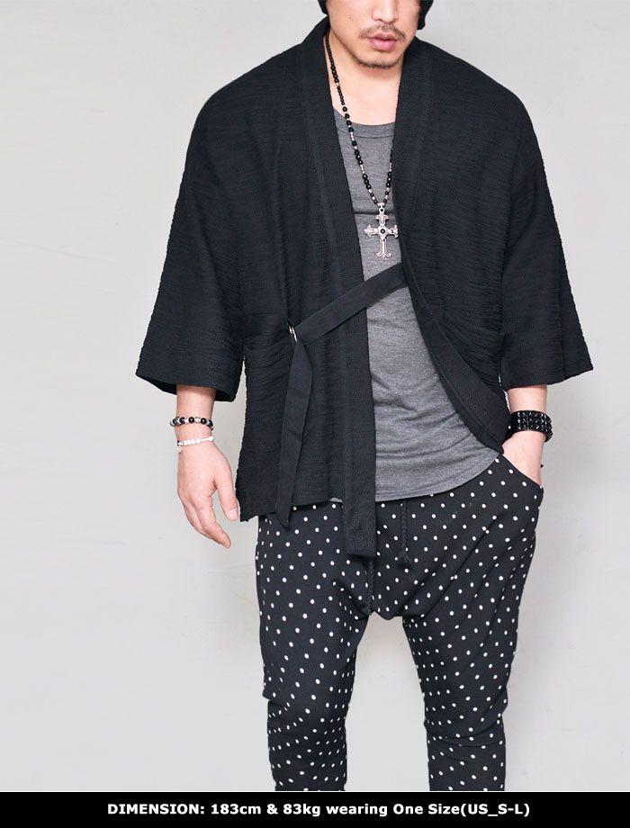 Outerwear :: Cardigans :: Brushed Slub Kimono Jacket-Cardigan 221 - GUYLOOK Men's Trendy Fashion Clothing Online