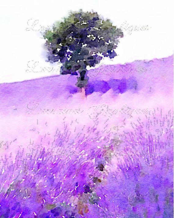 Violet Lavande Aquarelle Art Print Provence France Ferme De