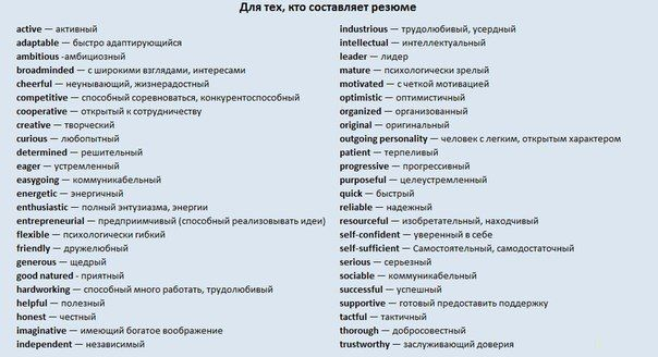 Words For A Cv How To Be Outgoing Optimistic Russian Language