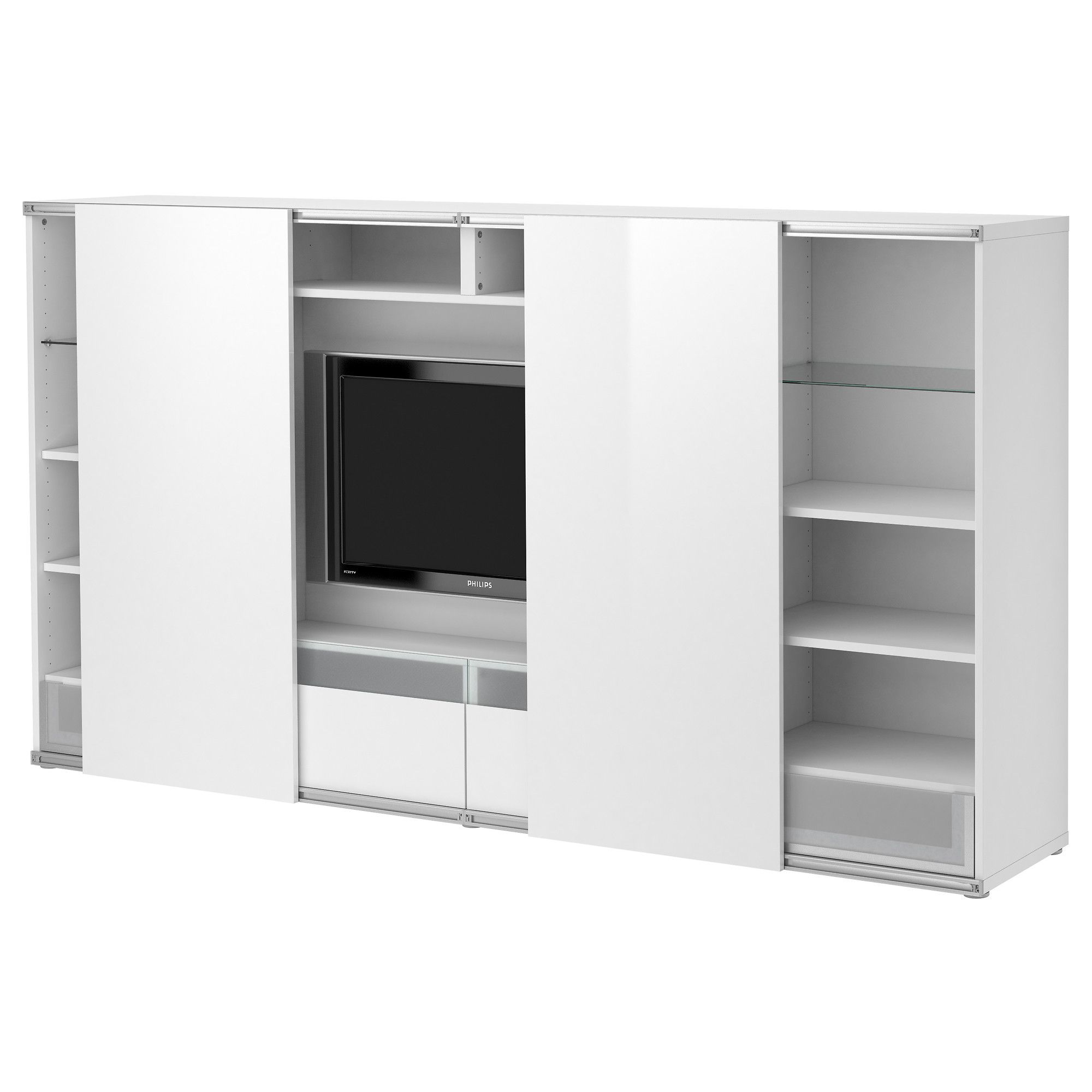 Best inreda tv storage combo with sliding doors white for Agencement de stand