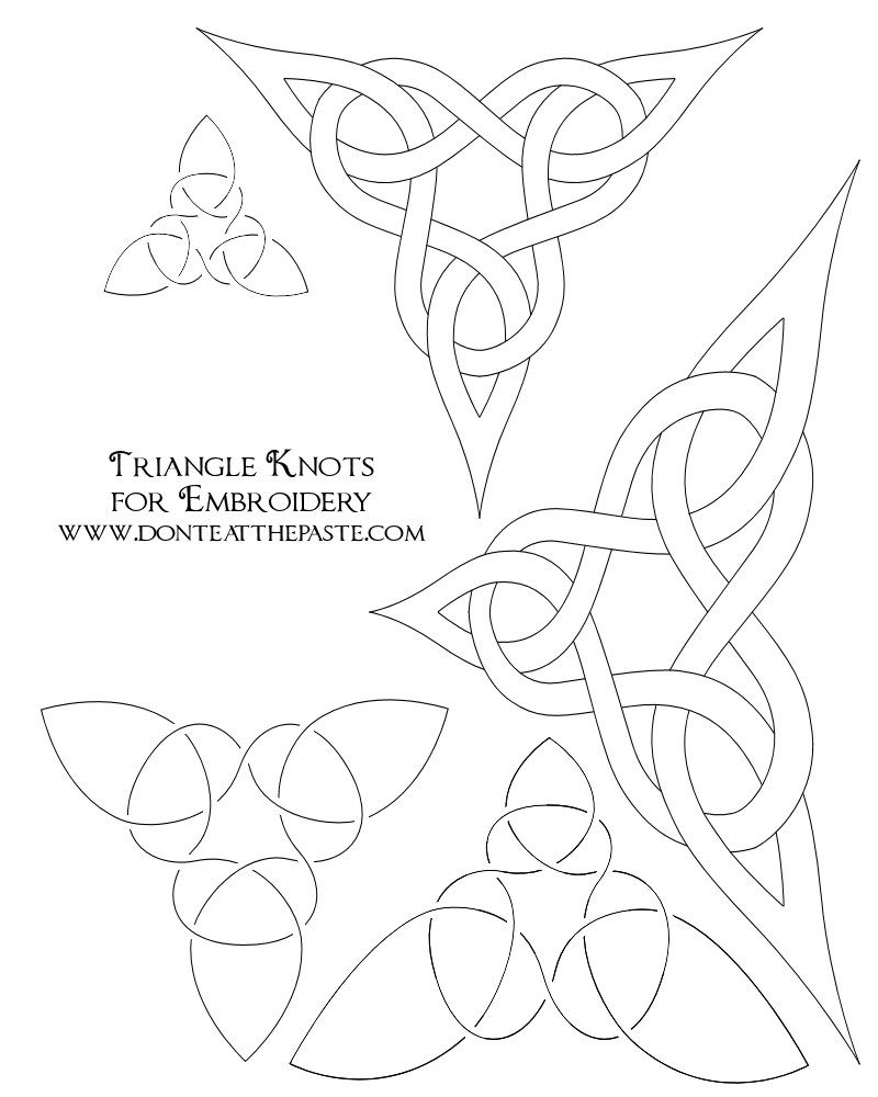 Triangle knot embroidery patterns and a coloring page | Celta, Arte ...