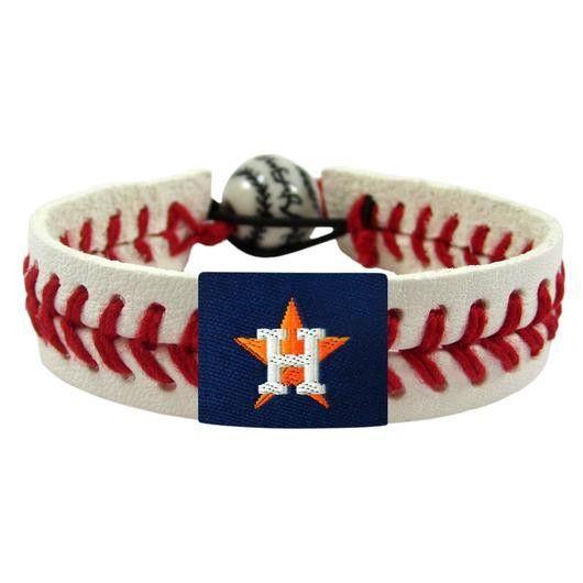 Houston Astros Leather Baseball Seam Bracelet