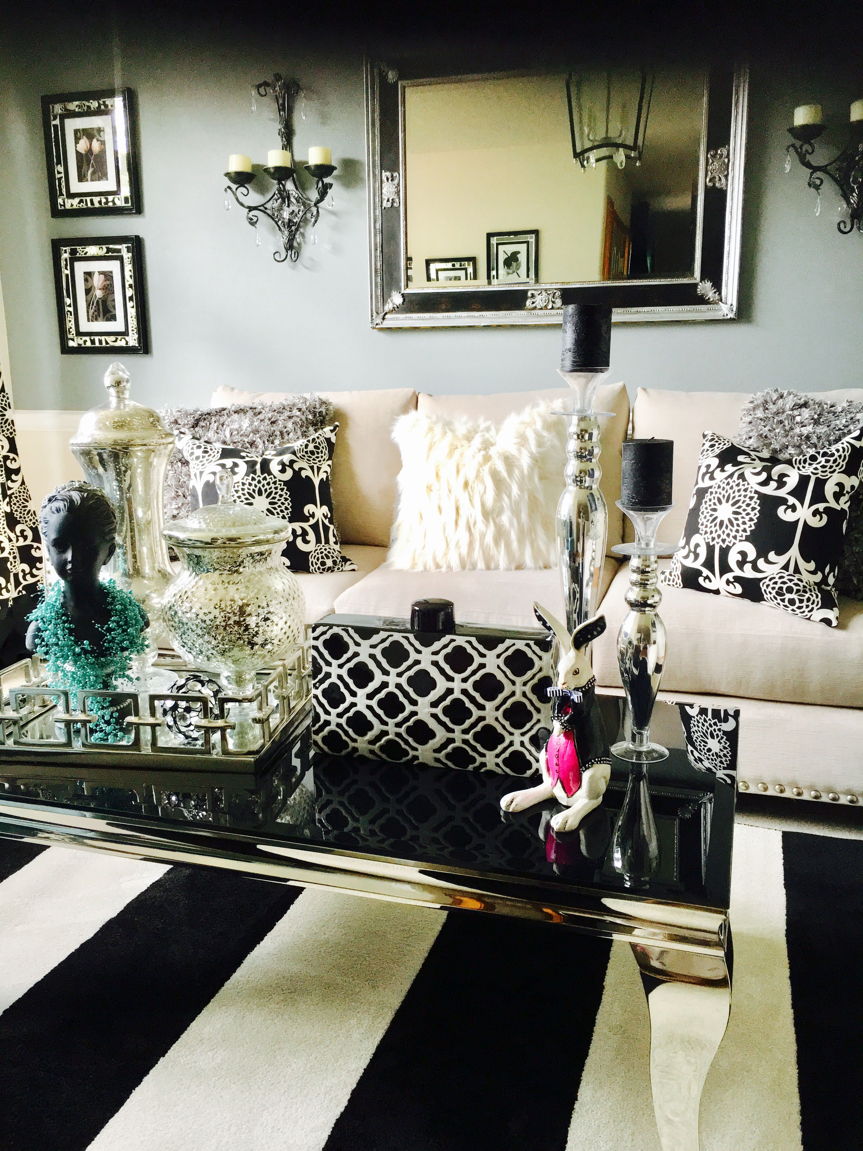 Living room . Black and white stripes, glam , teal | Home ...