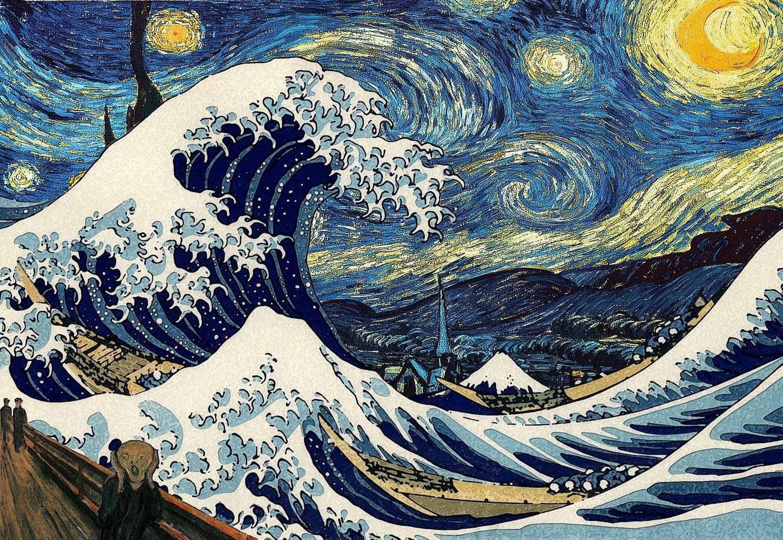 Животные, японская картинка волны