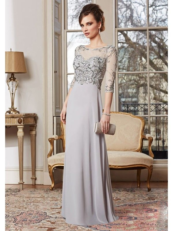 248592cce1f7e Sheath/Column Scoop Floor-Length Chiffon 1/2 Sleeves Applique Dresses