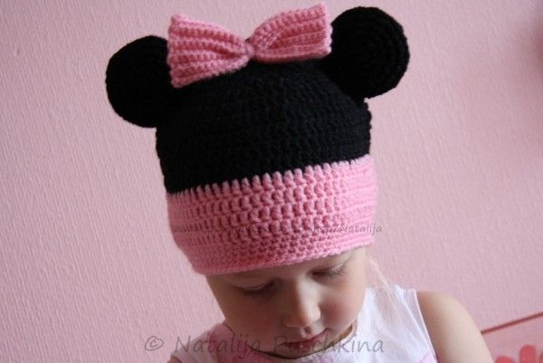 Minnie-Mouse-Mütze selbst häkeln - Anleitung | Mützen | Pinterest ...