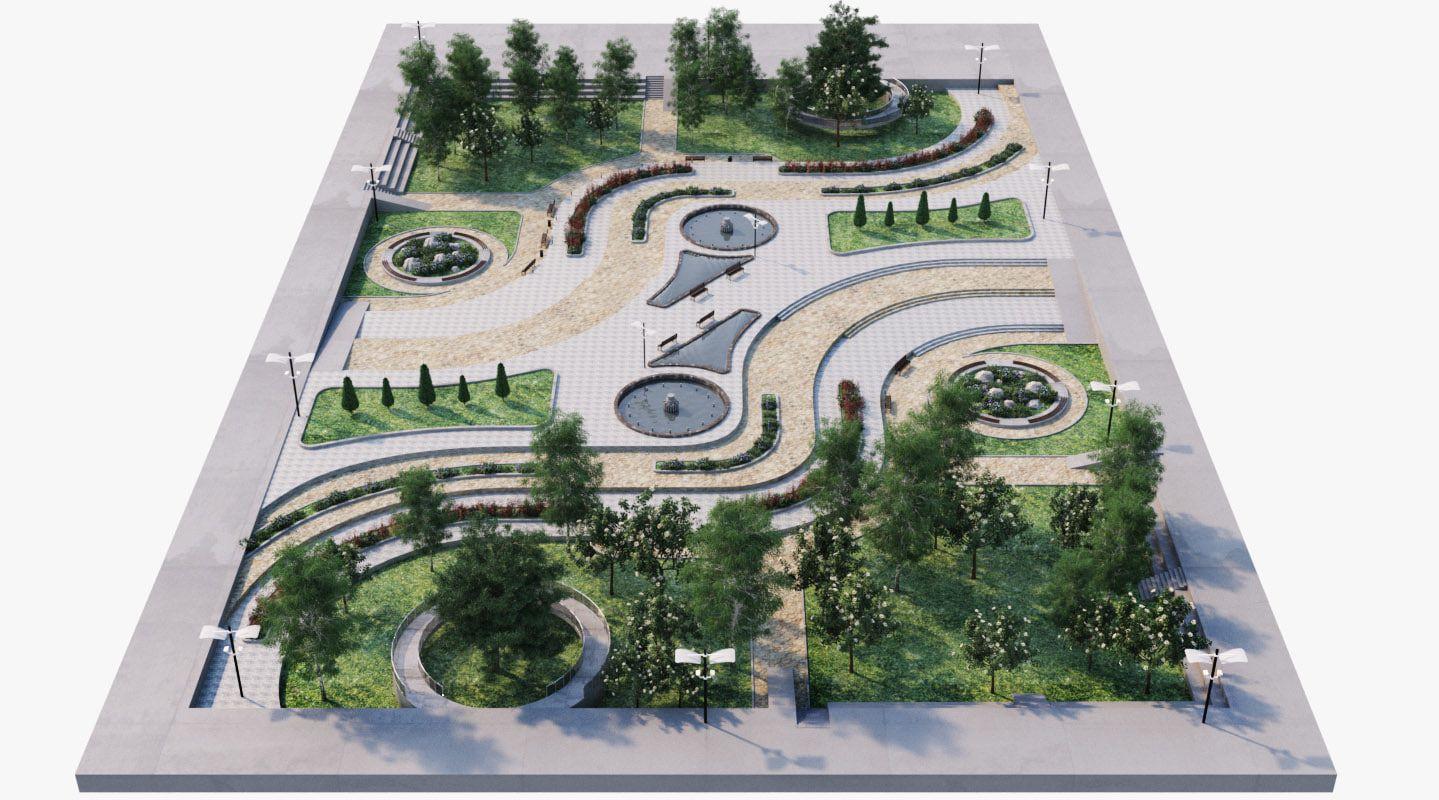 Landscape Park 2 3d Model Kiến Truc Bền Vững Mo Hinh Parks