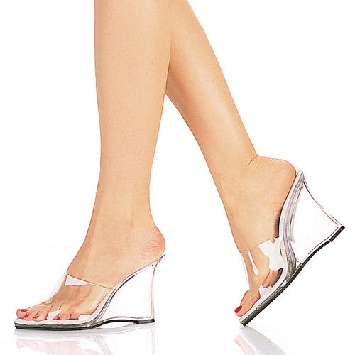 Ladies Transparent Wedge High Heel Clear Sandals Open Toe Slippers Dating Shoes