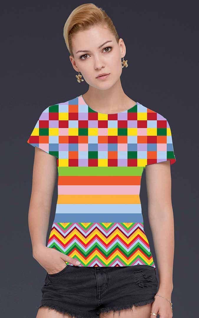 Women's Multi-Color TV Screen Test Print T-Shirt
