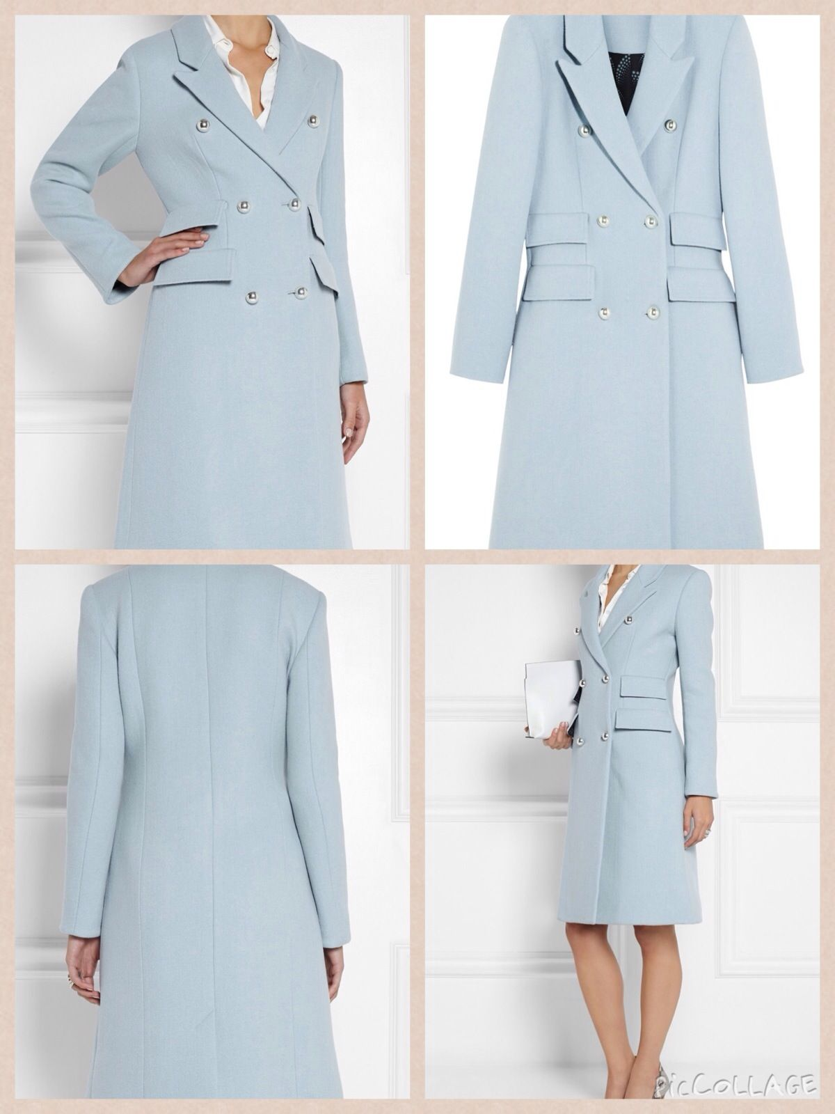 November 8, 2014 - Kate wore Matthew Williamson's 'wool blend coat' in a soft blue color. The fitted piece features double-breasted styling, multiple flap pockets, peak lapels and bright silver buttons.  The coat is available at Net-a-Porter, where it is selling at $2650.  The coat is also offered at Flannels. That retailer is selling the piece for $1920.