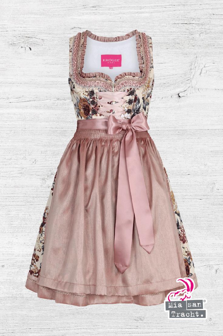 Mini Dirndl Mit Blumenprint Rose In 2020 Trachten Damen Blumenmadchen Kleid Und Dirndl