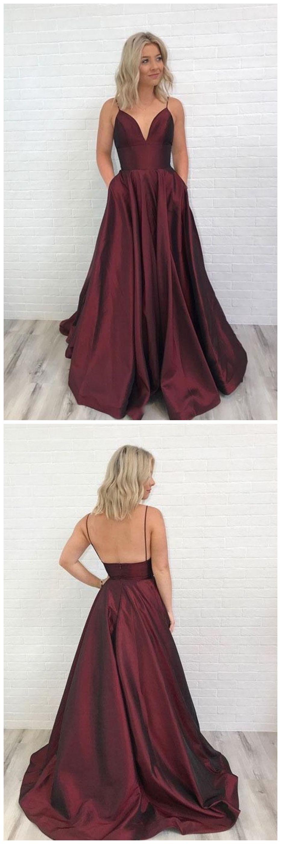 Spaghetti straps burgundy floor length satin prom dresses ed