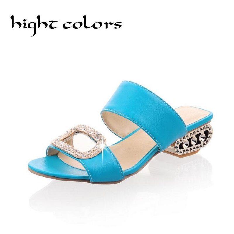 ed7fe2a40213d 2017 Fashion Square Heel Rhinestone Slippers Sandals Women Brand Summer  Shoes Womens Bling Metallic Flip Flops