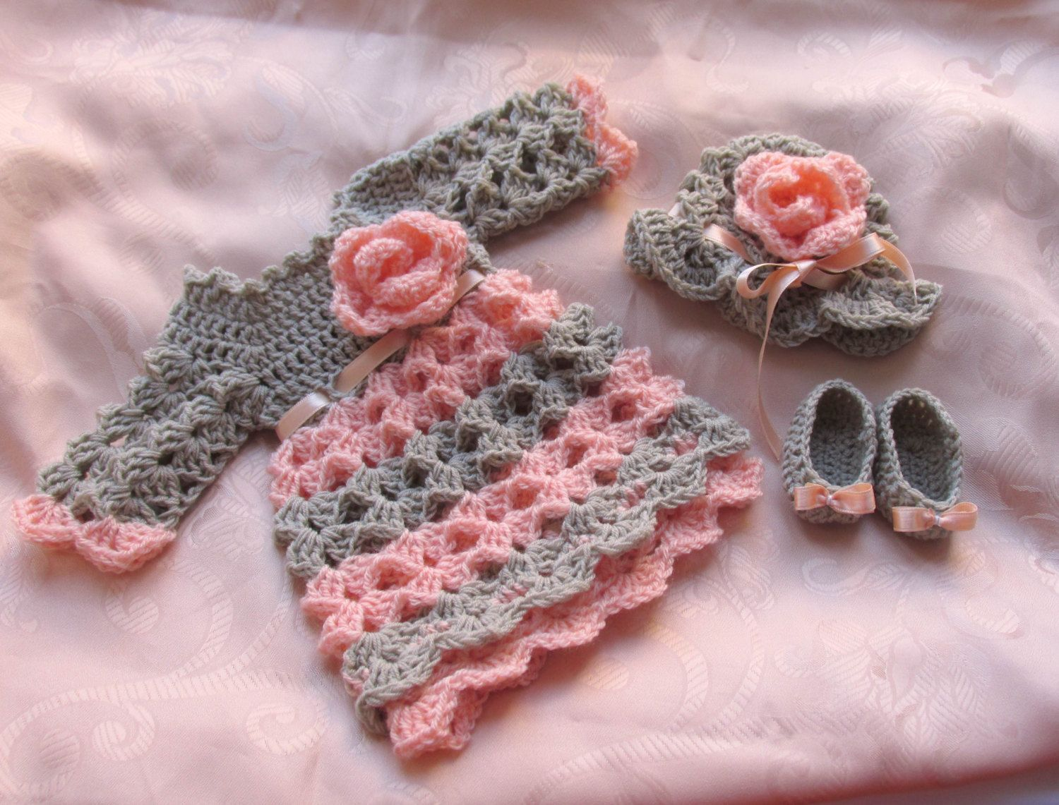 Baby dress hat shoes in light grey peach color by paintcrochet ...