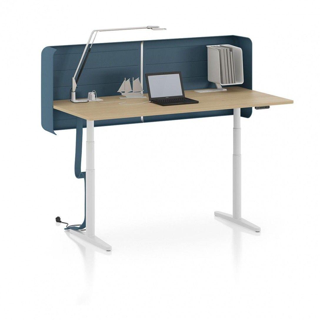 Kinderschreibtisch höhenverstellbar  Vitra - Tyde höhenverstellbarer Schreibtisch 160x80cm - weiß/eiche ...