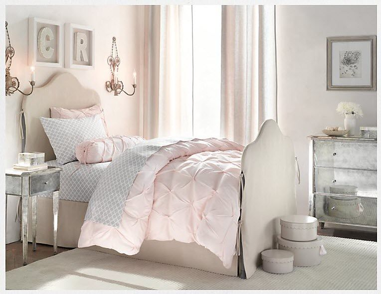 pink grey white bedroom girls bedroom ideas 15505 | 55e17d0447bddaa290468be8bb787166
