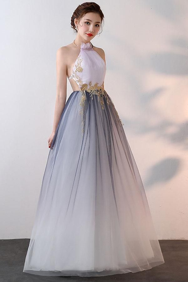 Light Blue V Neck Tulle Prom Dresses Backless Beaded
