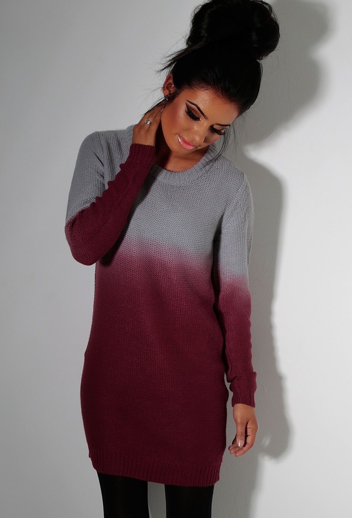 Hawthorn Red & Grey Oversized Ombre Jumper Dress | Pink Boutique ...