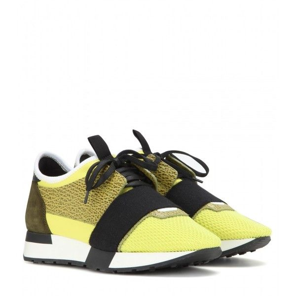buy online 7cd7e c172b Balenciaga Runner Race Sneakers ( 540) ❤ liked on Polyvore featuring shoes,  yellow, yellow shoes, balenciaga and balenciaga shoes
