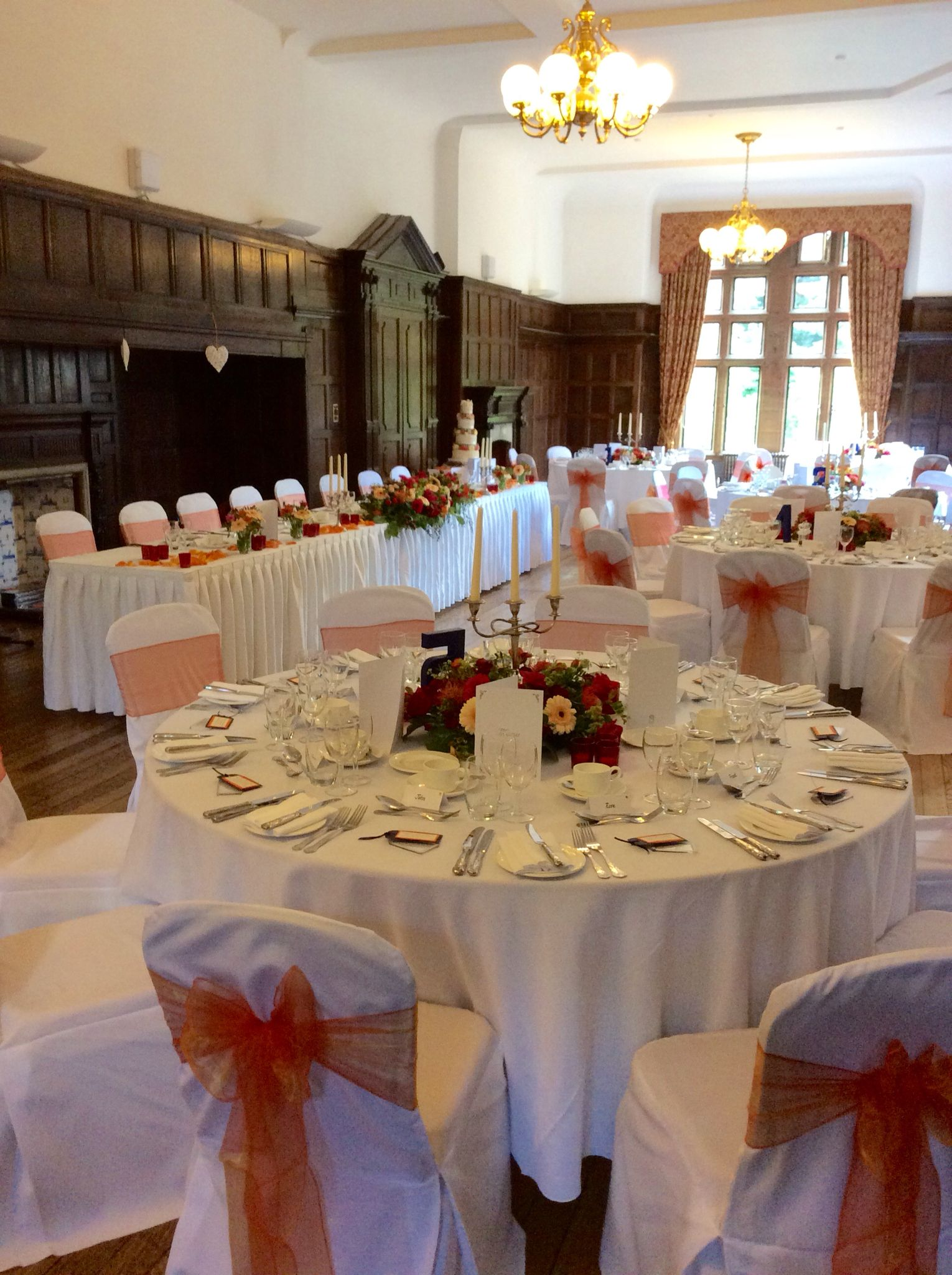 Vibrant Orange Accents For A May Wedding Breakfast Here At Woldingham School Marden Park Surrey Weddings Pinterest