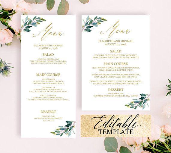 greenery gold wedding menu template dinner party menu template