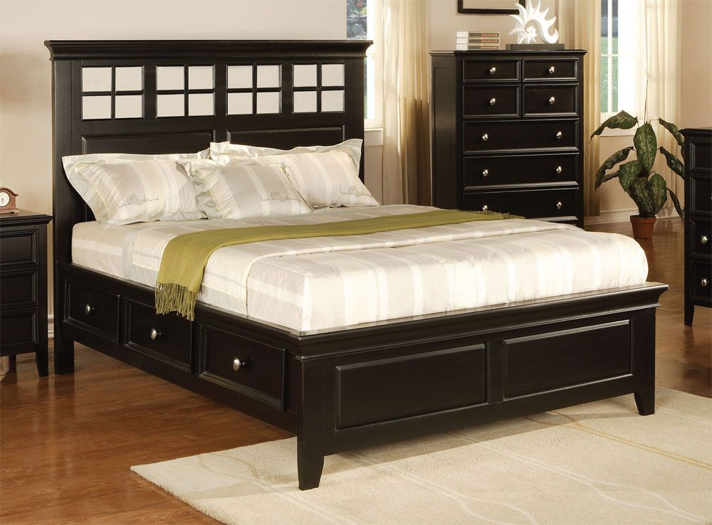 Del Mar Ebony King Size Panel Bed With Storage By Winners