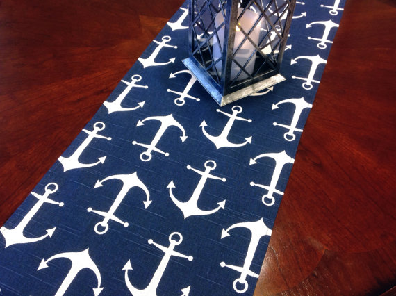 Table Runner   Nautical Small Anchor Table Runners   Navy And White Nautical  Table Runners For