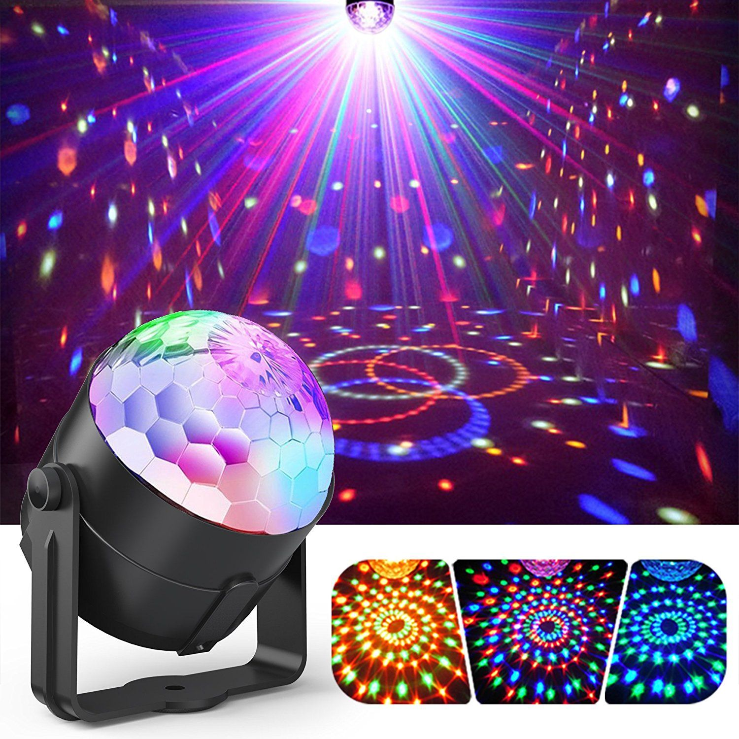 Party Lights Gvoo Sound Activated Disco Lights Rotating Ball Lights 5w 7 Modes Rgb Led Stage Lights With Remote Led Party Lights Party Lights Disco Ball Light