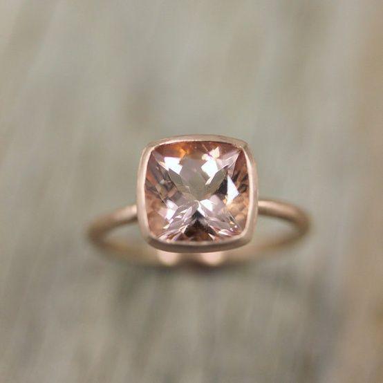 Morganite Ring in 14k Rose Gold Cushion Cut