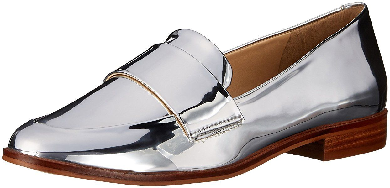 b87217340182a STEVEN by Steve Madden Women's Quintus Slip-On Loafer, Silver Foil, 6 M US