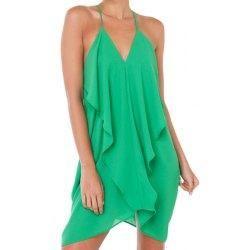 #trendsgal.com - #Trendsgal Spaghetti Strap Solid Color Flounce Splicing Asymmetrical Dress - AdoreWe.com