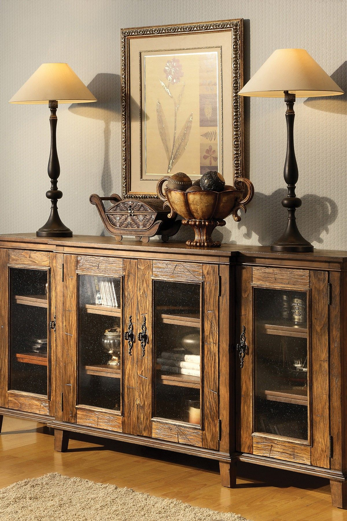 French Cottage Rustic Media Cabinet Sideboard Want
