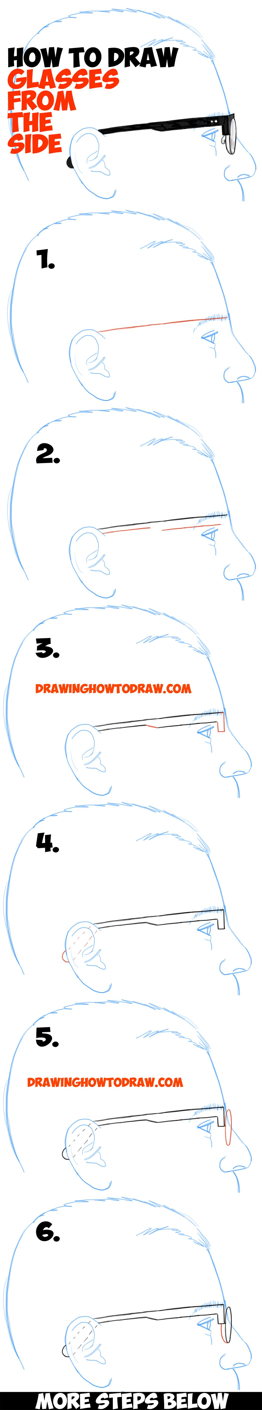 df25cf161284d How to Draw Glasses on a Person s Face from the Side Angle View (Profile)  easy steps drawing lesson