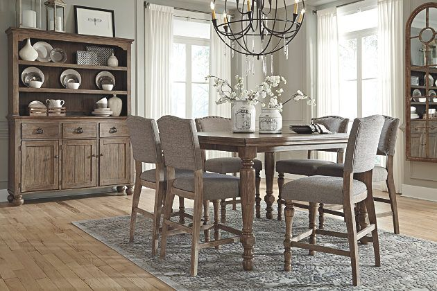 Grayish Brown Tanshire Counter Height Dining Room Table View 3