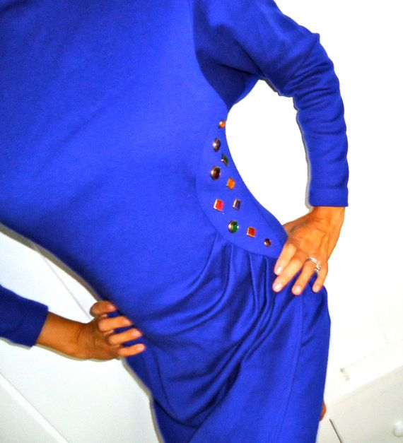BEDAZZLED 80s Dress Blue Wrap Dress Peep Key by GnarlyNutmeggers, $32.00