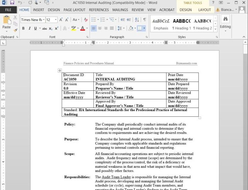 Free Sample Policies And Procedures Template Free Word Document